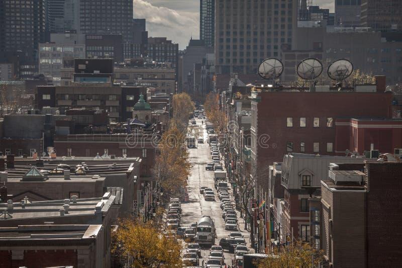Montreal horisont, med de iconic byggnaderna av CBD-affärsskyskraporna som tas från det bostads- området av Le By royaltyfri bild