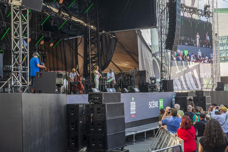 Show on TD Stage Montreal Jazz fest 2019. Montreal International Jazz Festival is an annual jazz festival held in Montreal, Quebec, Canada. The Montreal Jazz royalty free stock photo