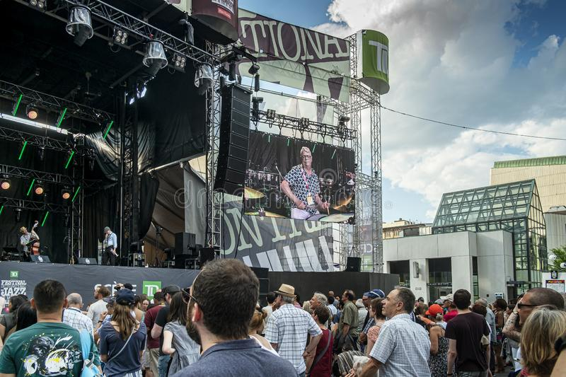 Sreen on TD Stage Montreal Jazz fest 2019. Montreal International Jazz Festival is an annual jazz festival held in Montreal, Quebec, Canada. The Montreal Jazz stock photos