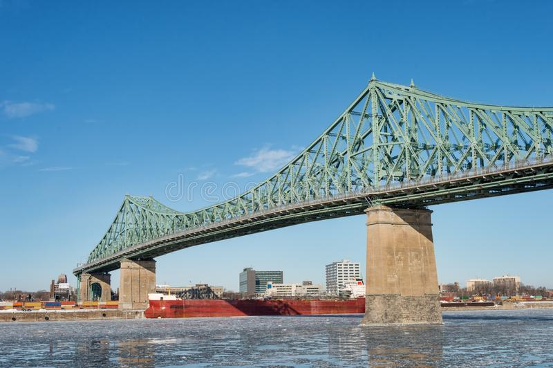 Montreal Jacques Cartier Bridge in winter 2018 stock photo