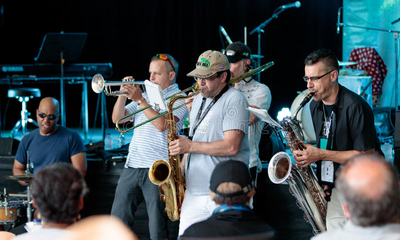 Montreal Jazz Festival July 2017. Band in front of the stage before the main act at the Montreal Jazz Festival July 2017 stock photos