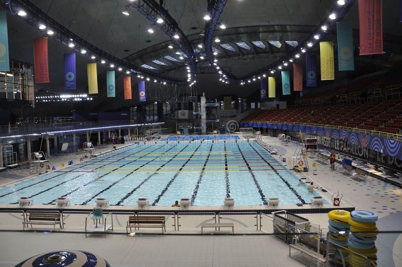 Montreal, 27 Juni: De Biodomebouw binnenland in Park Olympisch van Montreal in de Provincie van Quebec van Canada royalty-vrije stock afbeeldingen