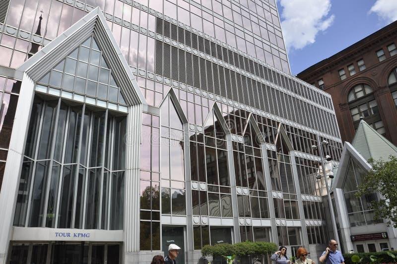 Montreal, 27 Juni: De voorgeveldetails van reiskpmg van de stad in van Montreal stock afbeelding