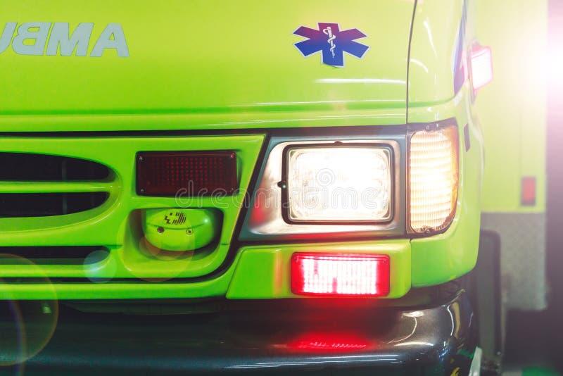 Montreal Kanada —mars 25, 2018: Ambulansbil i hospiten arkivbild