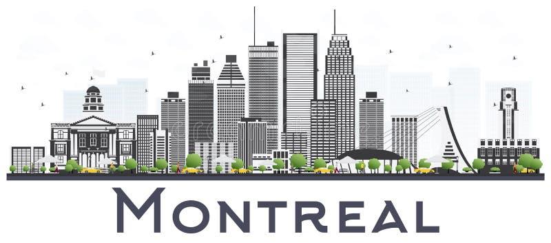 Montreal Kanada miasta linia horyzontu z Szarymi budynkami Odizolowywającymi na Whi ilustracja wektor