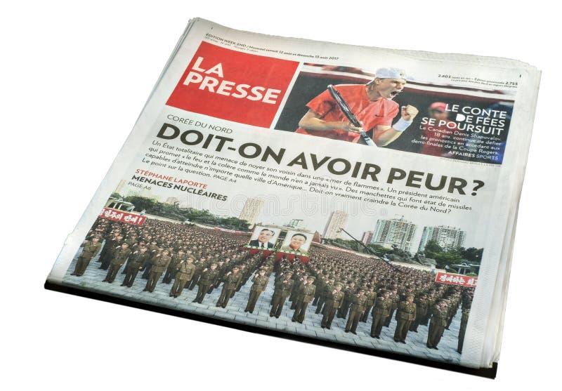 Montreal losu angeles Presse gazeta Front Page obrazy royalty free