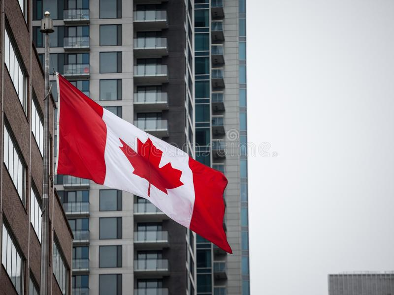 Canadian flag in front of a residential condo appartment building in Montreal, Quebec, Canada. Montreal is main economic and business hubs of Quebec and one of stock images