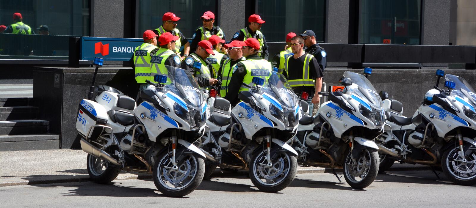 Montreal motorcycle cop stock photography