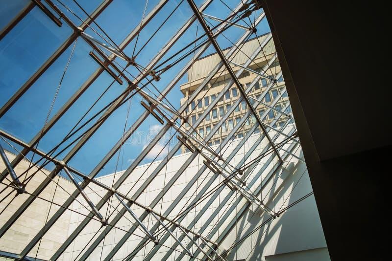 Montreal museum of fine arts. Jean-Noël Desmarais Pavilon main entrance ceilling The Montreal Museum of Fine Arts MMFA French: Musée des beaux-arts royalty free stock images