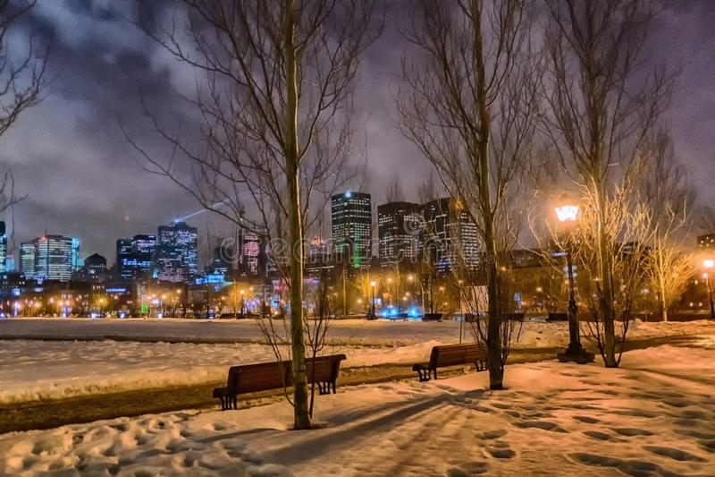 Montreal nattplats royaltyfria bilder