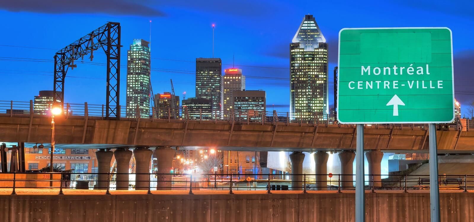 Montreal by night stock images