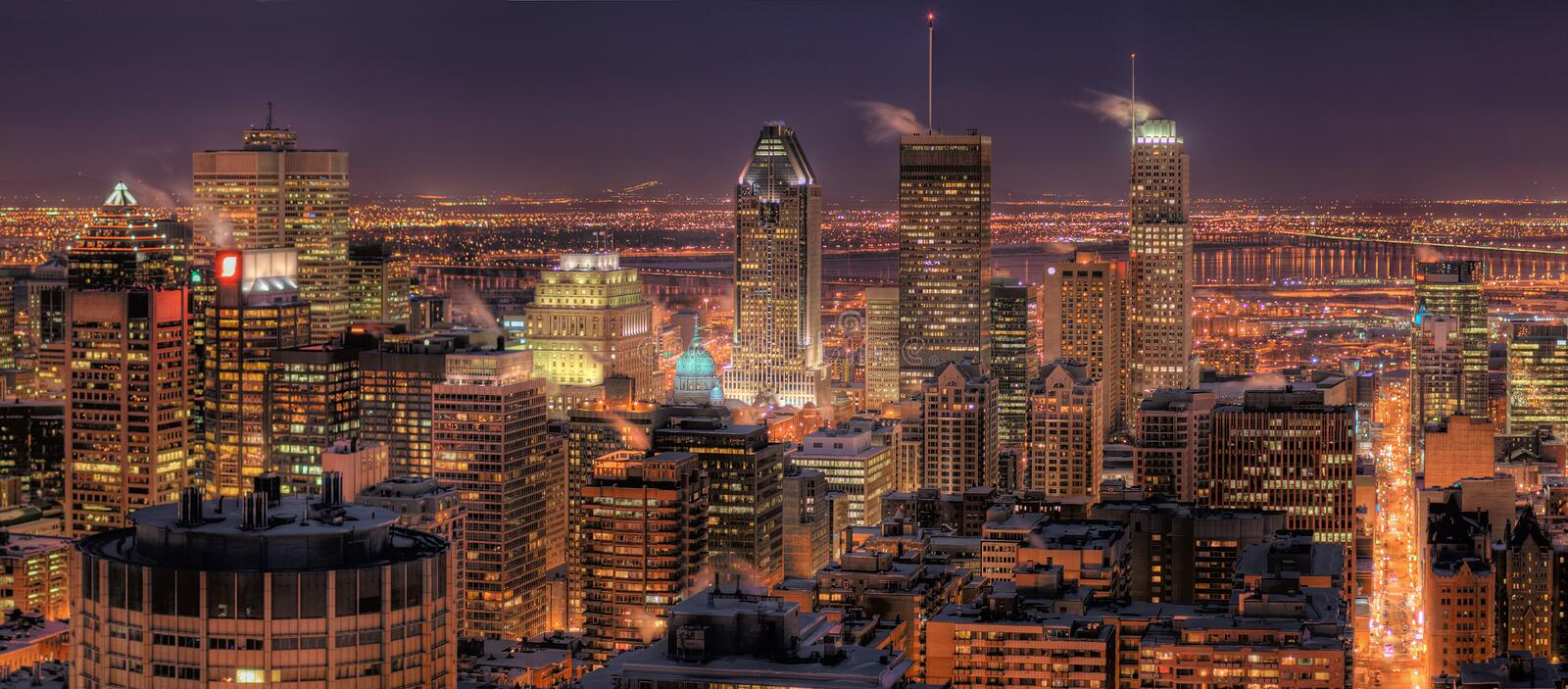 Montreal at Night. HDR Image of the Montreal Downtown Core at Night stock images