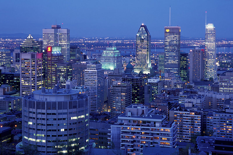 Montreal at Night. A beautiful birdseye view of downtown Montreal at night