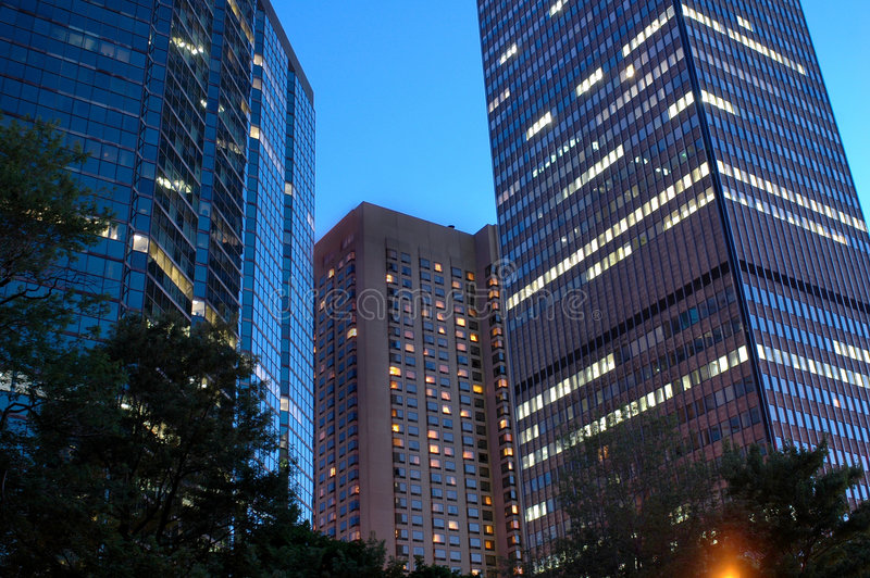 Montreal at Night. A view of beautifully lit modern buildings in Montreal at night royalty free stock photography