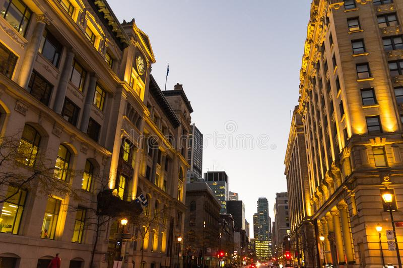 Montreal by night Quebec, Canada royalty free stock image