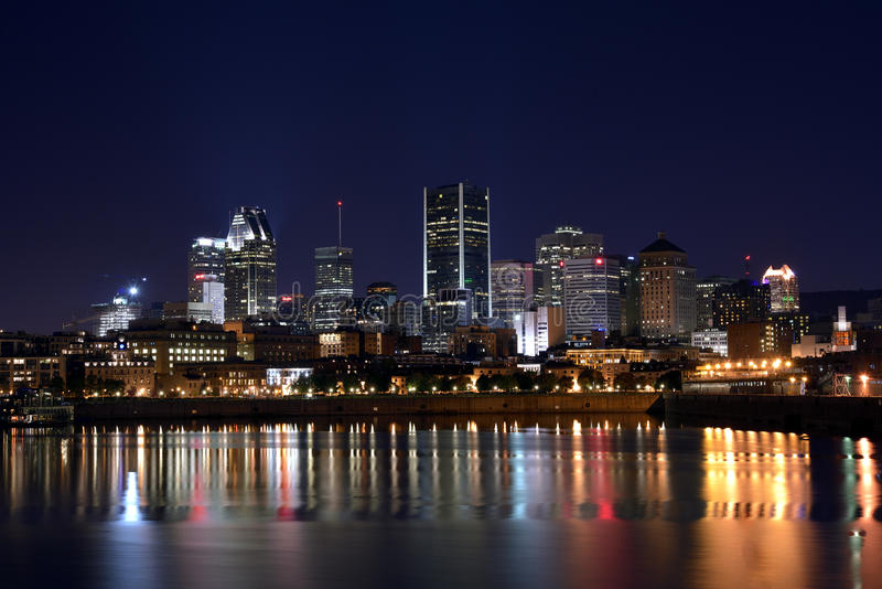 Montreal by night. View of old port montreal by night stock image