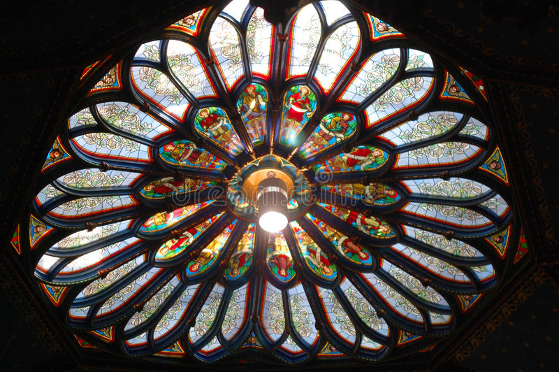 Montreal Notre-Dame Basilica Colorful roof window royalty free stock photography