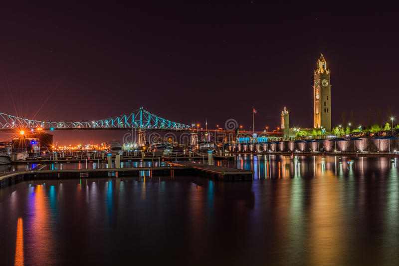 Montreal old port. At night stock photo