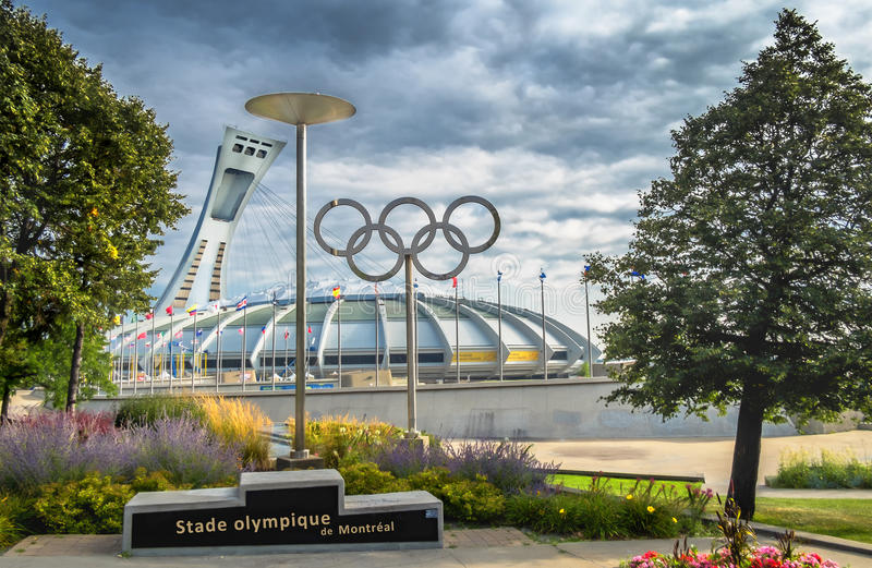 Montreal Olympic Stadium and rings stock image