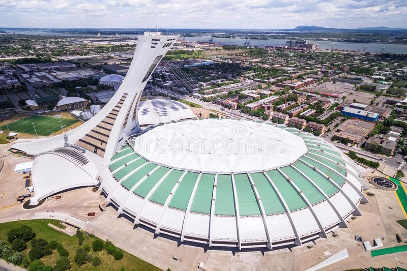 Montreal Olympic Stadium and Tower, Aerial View royalty free stock images
