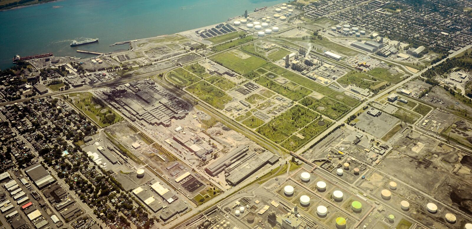 Montreal petrol port at Point-Aux-Trembles royalty free stock photos