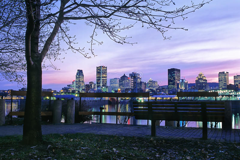 Montreal port and skyline royalty free stock image
