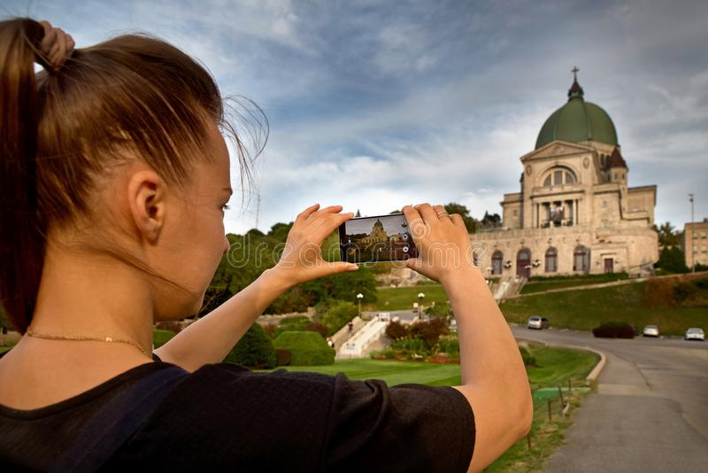 Montreal, Quebec, Canadá, el 6 de septiembre de 2018: El oratorio de Saint Joseph del soporte Oratoire real San José du Mont-Real fotografía de archivo