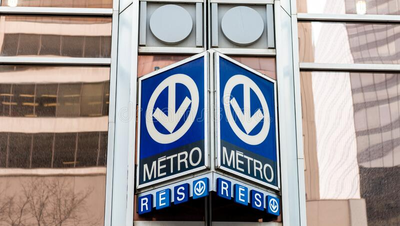 Montreal Quebec Canada January 25 2020:  Montreal metro station sign stock photo