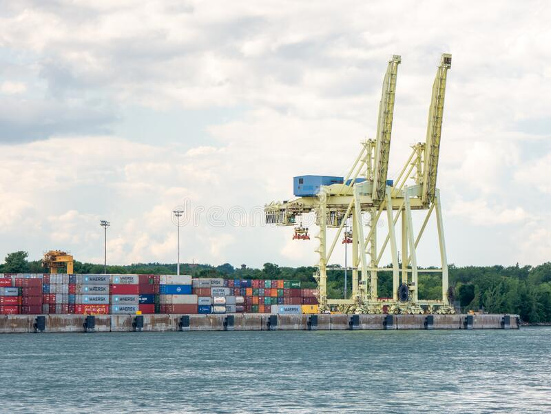 Montreal, Quebec, Canada. July 2020. More than 2,000 cargo ships visited with the port handling 40,500,000 [10] metric tonnes of stock photo