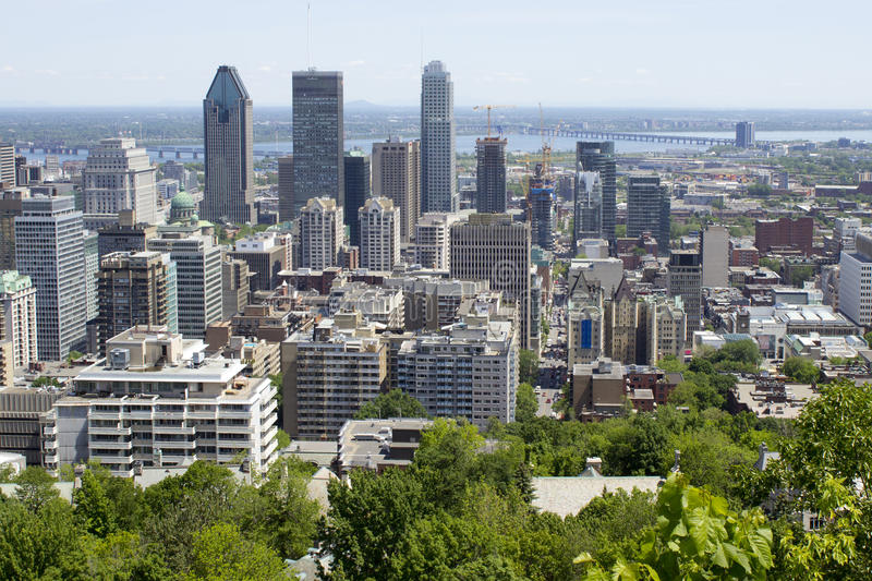 Montreal, Quebec, Canada, looking bird's eye view, a view of downtown Montreal from Mont royal. Summer, Montreal, Quebec, Montreal downtown, , city, city royalty free stock images