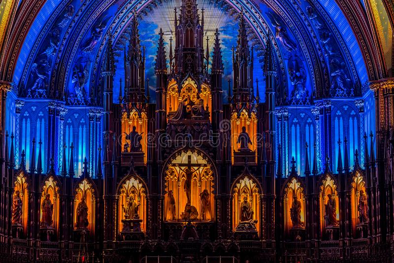 MONTREAL, QUEBEC, CANADA - MEI 21, 2018: Binnenland van de basiliek-Kathedraal van Notre-Dame DE Quebec; De Stad van Quebec, Queb royalty-vrije stock fotografie