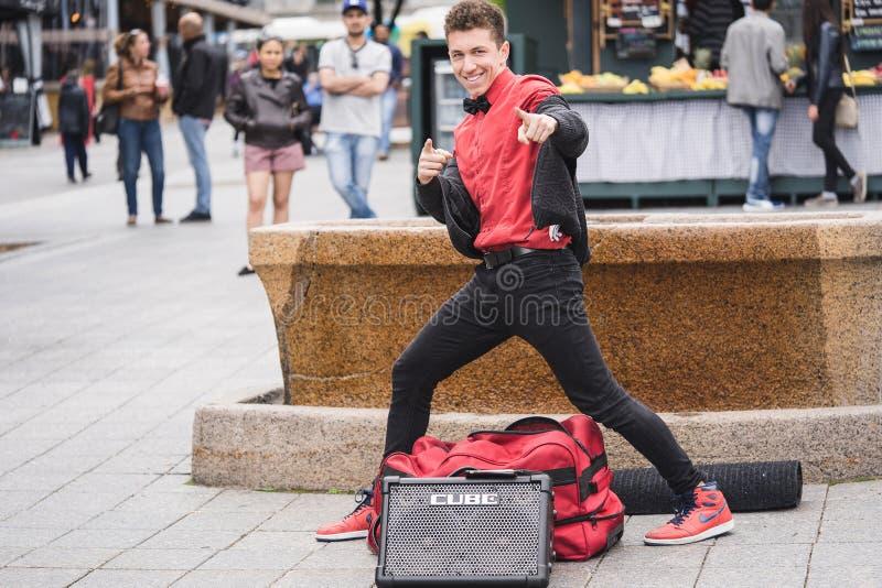 MONTREAL, QUEBEC, CANADA - MEI 20, 2018: straatuitvoerders Montreal in Montreal royalty-vrije stock afbeelding