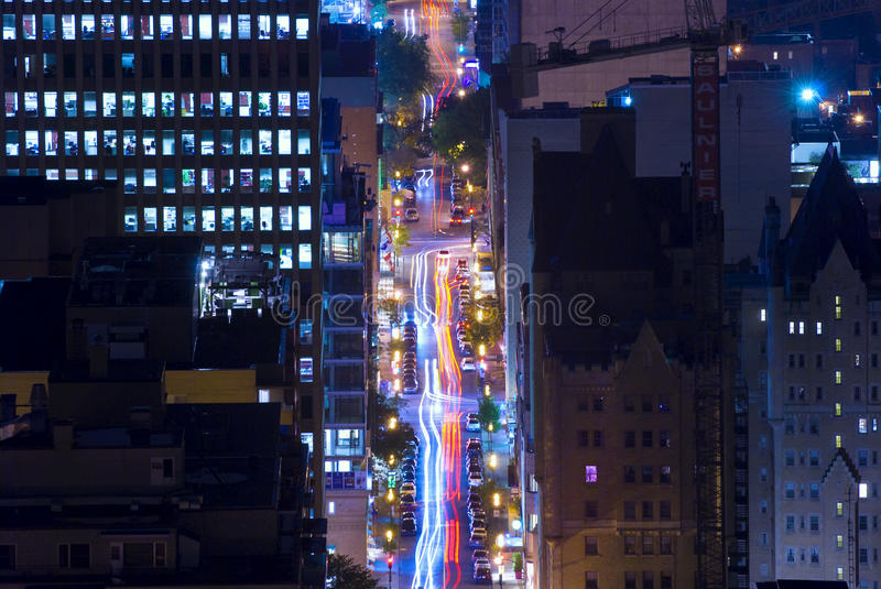 Montreal, Quebec, Canada. Night street in Montreal, Quebec, Canada stock images