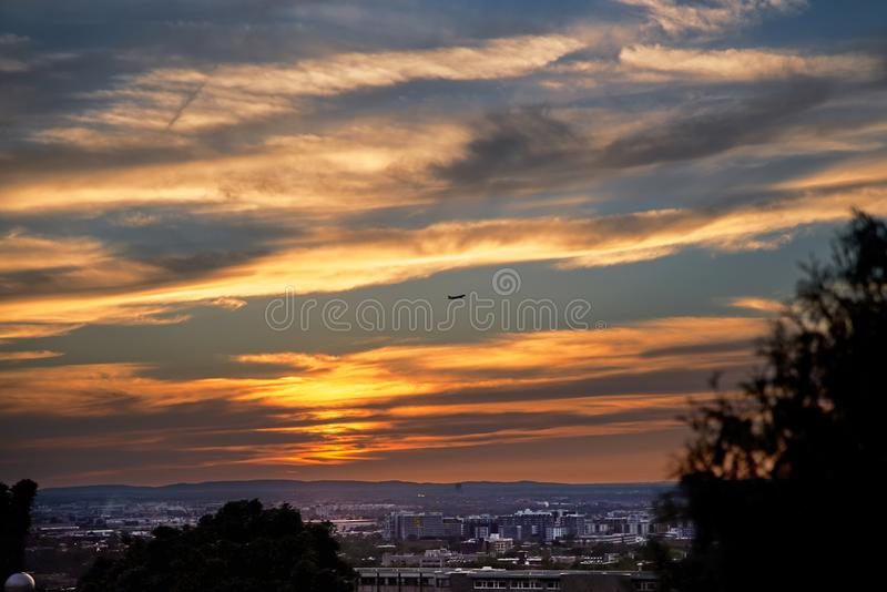 Montreal, Quebec, Canada, September 6, 2018: Sunset over the Saint Joseph`s oratory on Mount Royal in Montreal, Quebec. Montreal, Quebec, Canada, September 6 stock photography