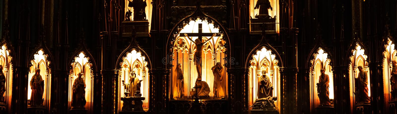 MONTREAL, QUEBEC, KANADA - 21. MAI 2018: Innenraum von Basilika-Kathedrale Notre-Dame-Des Quebec; Québec-Stadt, Quebec stockbilder