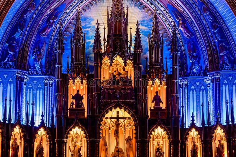 MONTREAL, QUEBEC KANADA, MAJ, - 21, 2018: Wnętrze Notre-Dame De Quebec katedra; Quebec miasto, Quebec obraz royalty free