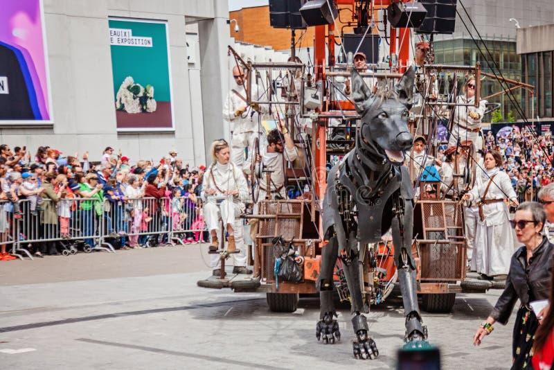 Montreal, Quebeque, Canadá - 21 de maio de 2017: Coloque festivais do DES - espaço de evento ao ar livre Cão de passeio no evento foto de stock royalty free