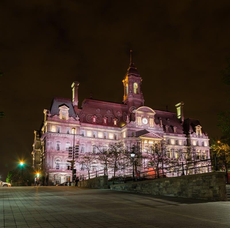 Montreal ratuszu noc zdjęcie royalty free