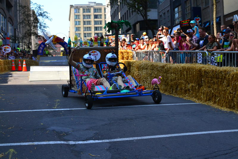 Montreal Red Bull Soapbox Race. Montreal, Canada - September 06, 2015: Montreal Red Bull Soapbox Race in Montreal Downtown.A lot of fun and ingenious ideas stock images