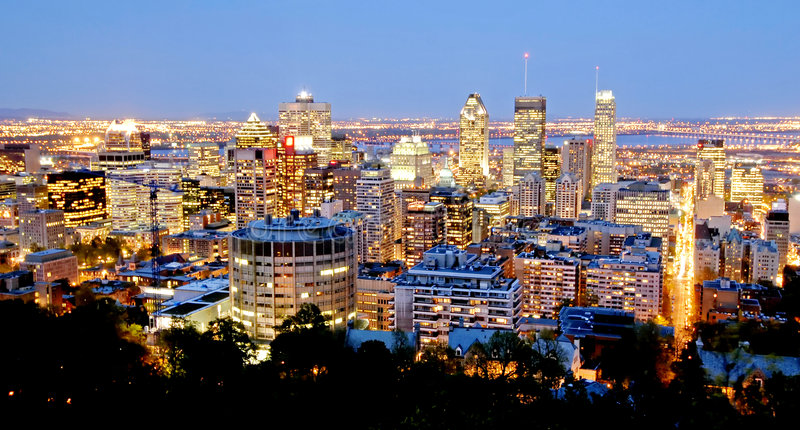 Montreal, 's nachts Canada stock foto's