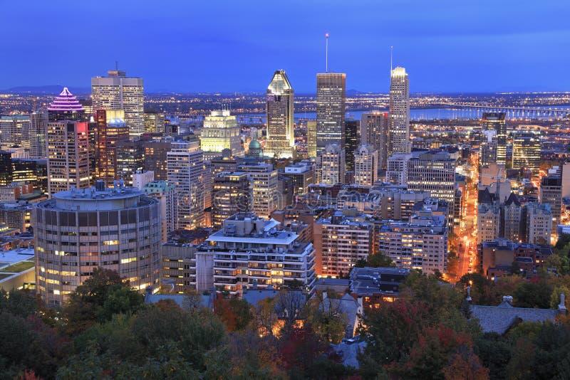 Montreal skyline at dusk in autumn stock photo