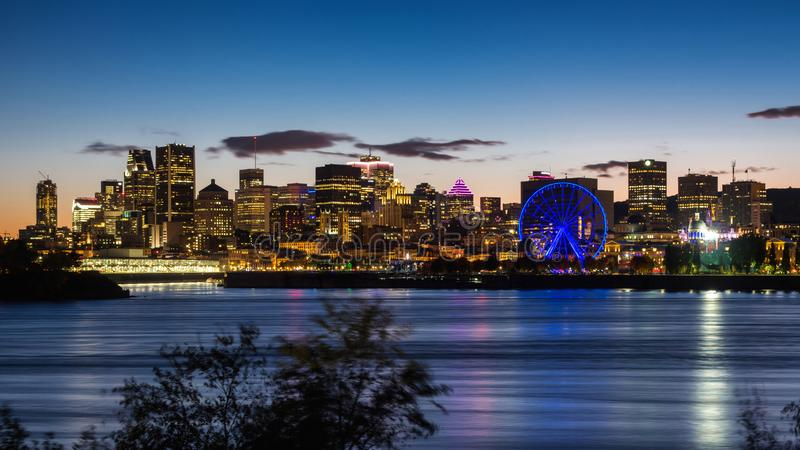 Montreal Skyline at Dusk, Quebec, Canada. Montreal skyline showing downtown buildings at dusk in Montreal, Quebec, Canada royalty free stock photo