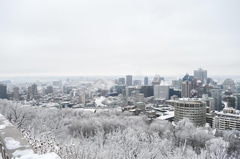 Montreal-Skyline im Schnee stockbilder