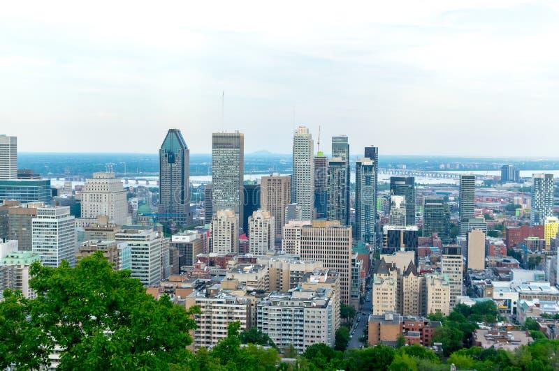 Montreal-Skyline im Sommer lizenzfreie stockbilder