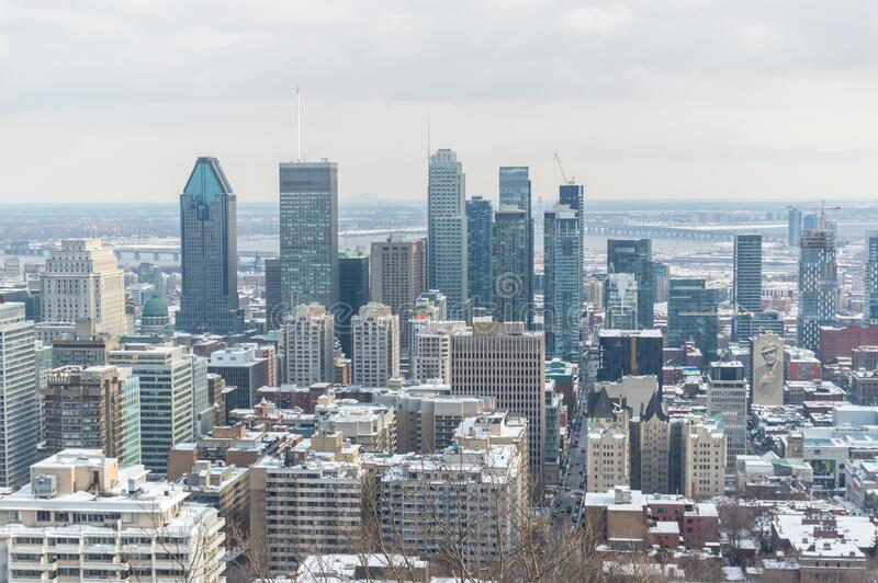 Montreal Skyline from Kondiaronk Belvedere / Mont-Royal royalty free stock photography