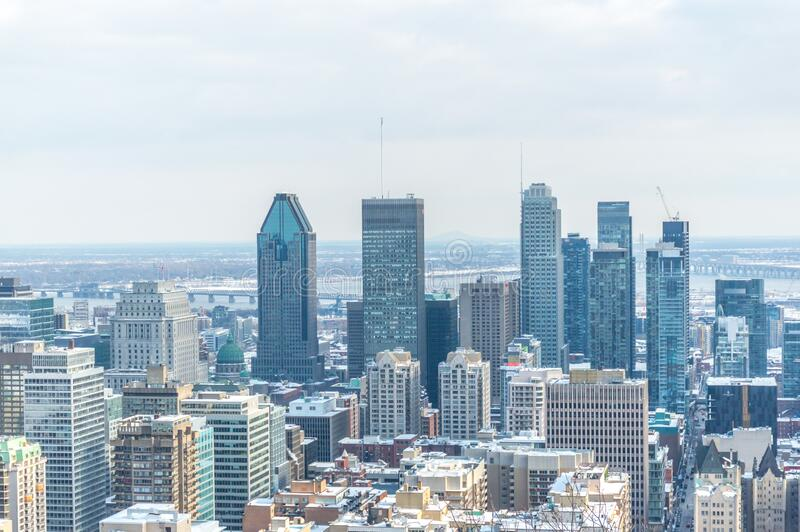 Montreal Skyline from Kondiaronk Belvedere / Mont-Royal stock photos