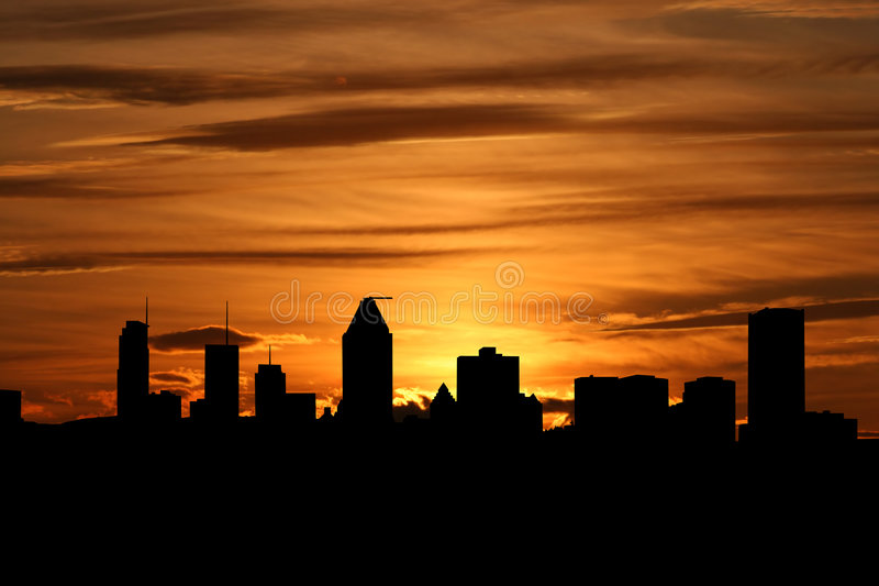 montreal skyline słońca ilustracji