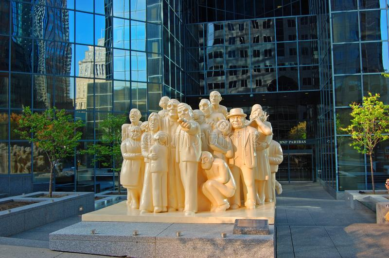 Montreal street sculpture, Montreal, Canada. Sculpture The Illuminated Crowd in front of BNP Tower on McGill College Avenue, Montreal, Quebec, Canada stock images
