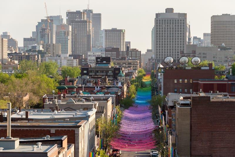 Montreal tęczy piłek sztuki instalacja fotografia stock