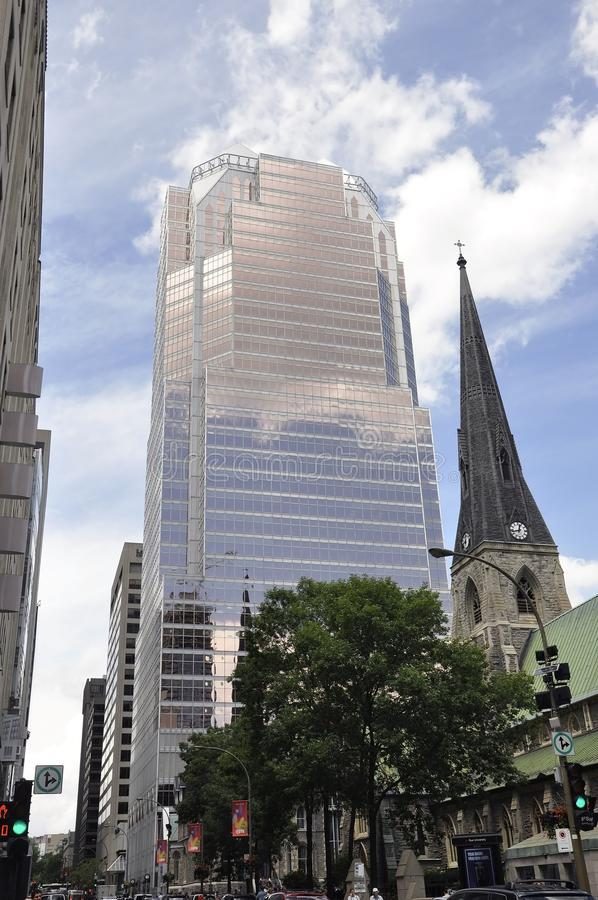 Montreal, 27th June: Cathedral Christ Church and Tour KPMG buildings from Downtown of Montreal stock images